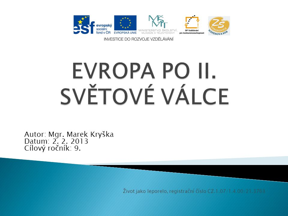 EVROPA PO II. SVĚTOVÉ VÁLCE