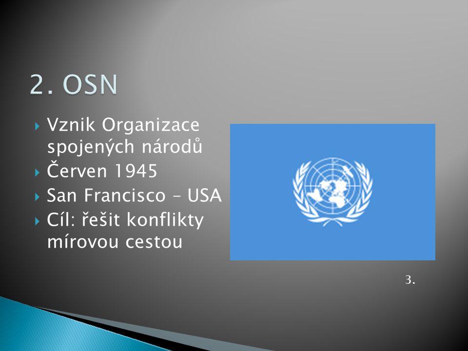 2. OSN Vznik Organizace spojených národů Červen 1945