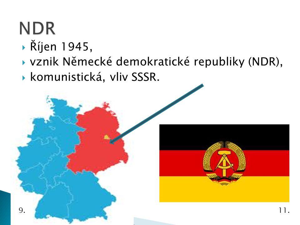 NDR Říjen 1945, vznik Německé demokratické republiky (NDR),
