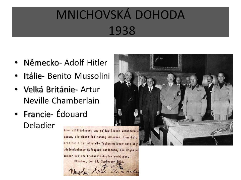 MNICHOVSKÁ DOHODA 1938 Německo- Adolf Hitler Itálie- Benito Mussolini
