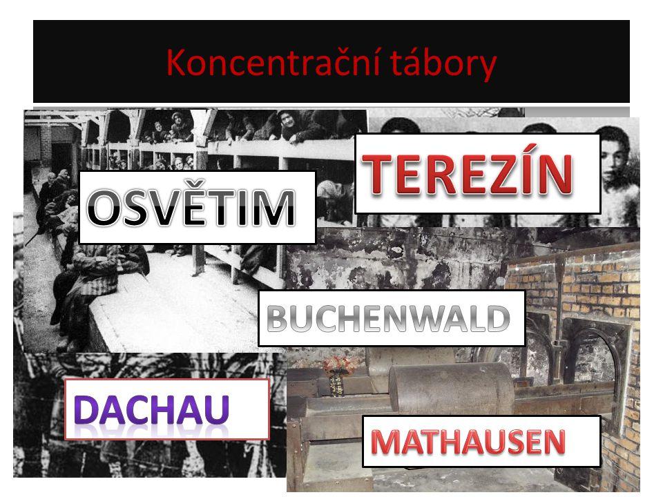 Koncentrační tábory TEREZÍN OSVĚTIM BUCHENWALD DACHAU MATHAUSEN