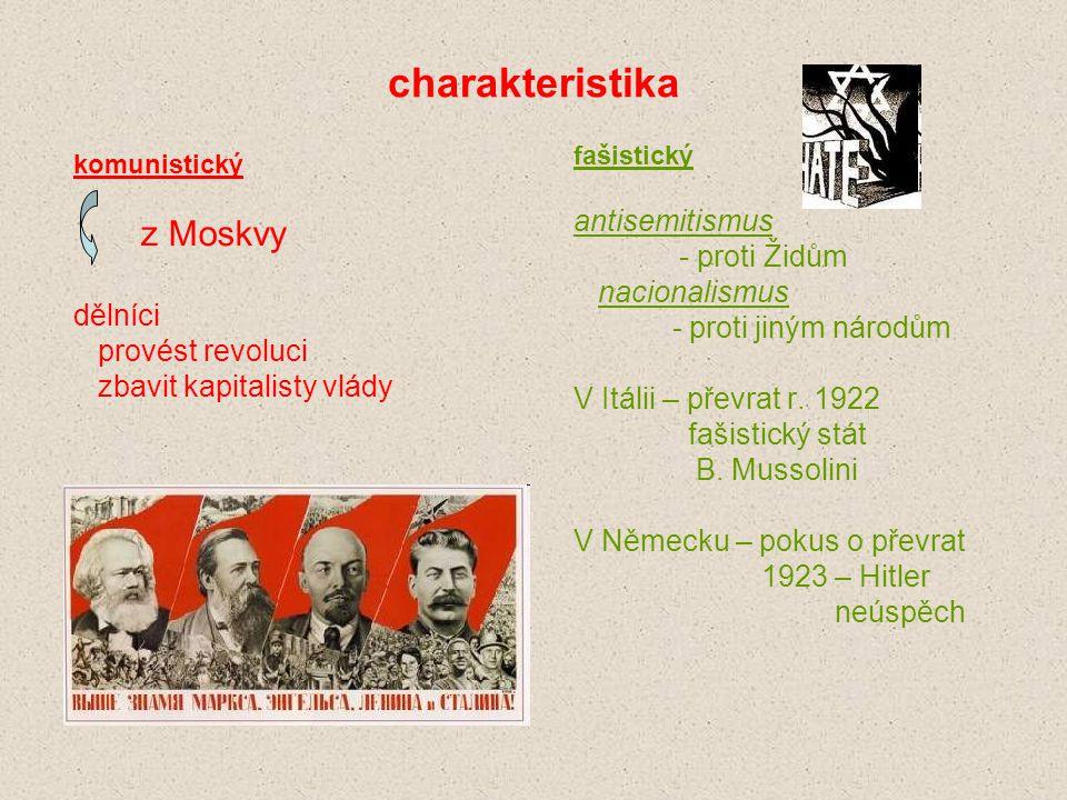 charakteristika antisemitismus - proti Židům nacionalismus dělníci