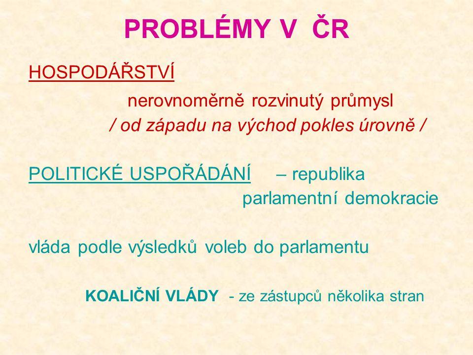 PROBLÉMY V ČR nerovnoměrně rozvinutý průmysl HOSPODÁŘSTVÍ