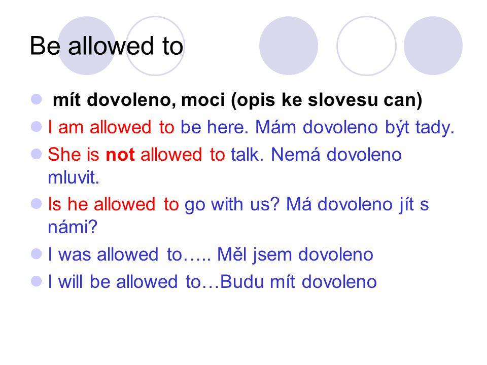 Be allowed to mít dovoleno, moci (opis ke slovesu can)