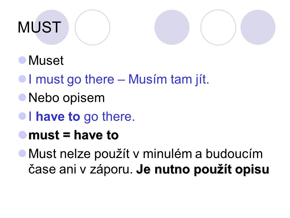 MUST Muset I must go there – Musím tam jít. Nebo opisem