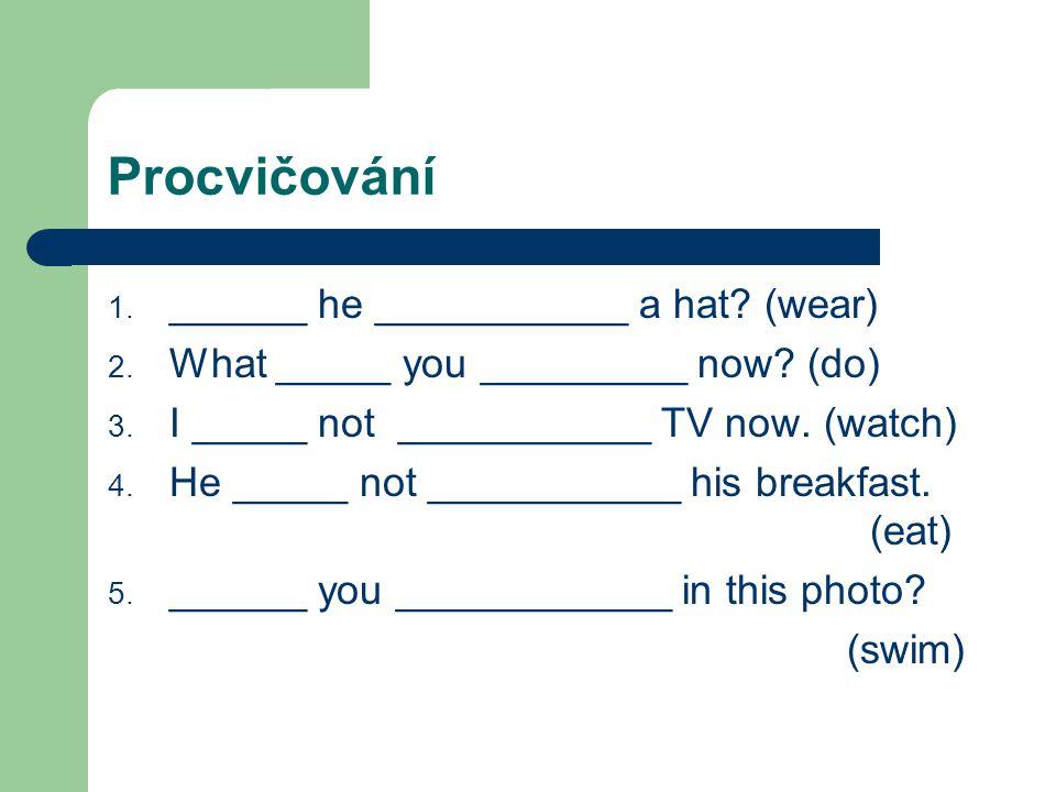 Procvičování ______ he ___________ a hat (wear)