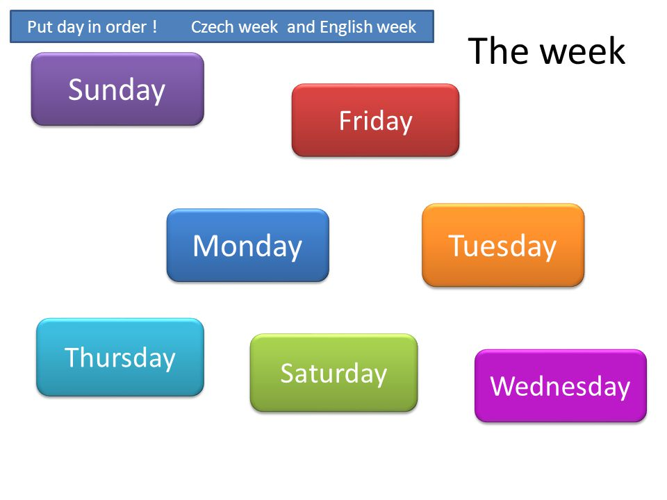 Put day in order ! Czech week and English week