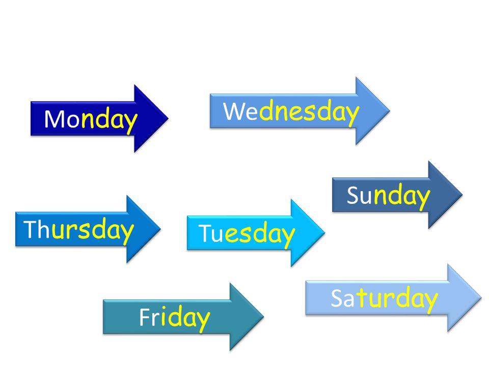 Wednesday Monday Sunday Thursday Tuesday Saturday Friday