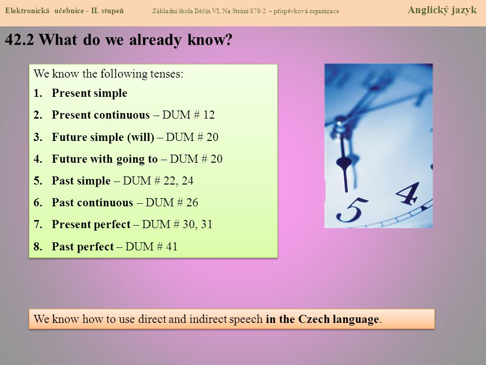 42.2 What do we already know We know the following tenses: