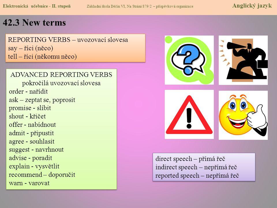 ADVANCED REPORTING VERBS pokročilá uvozovací slovesa