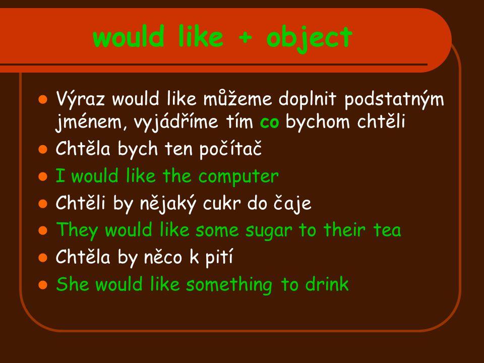would like + object Výraz would like můžeme doplnit podstatným jménem, vyjádříme tím co bychom chtěli.