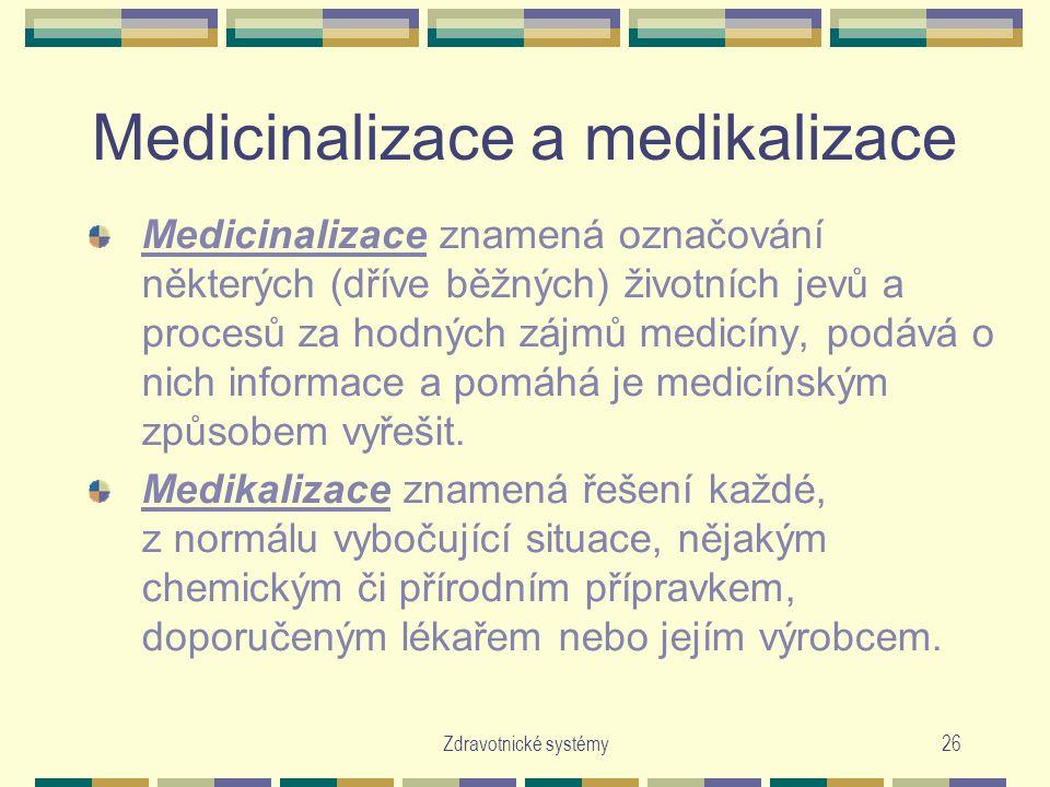 Medicinalizace a medikalizace