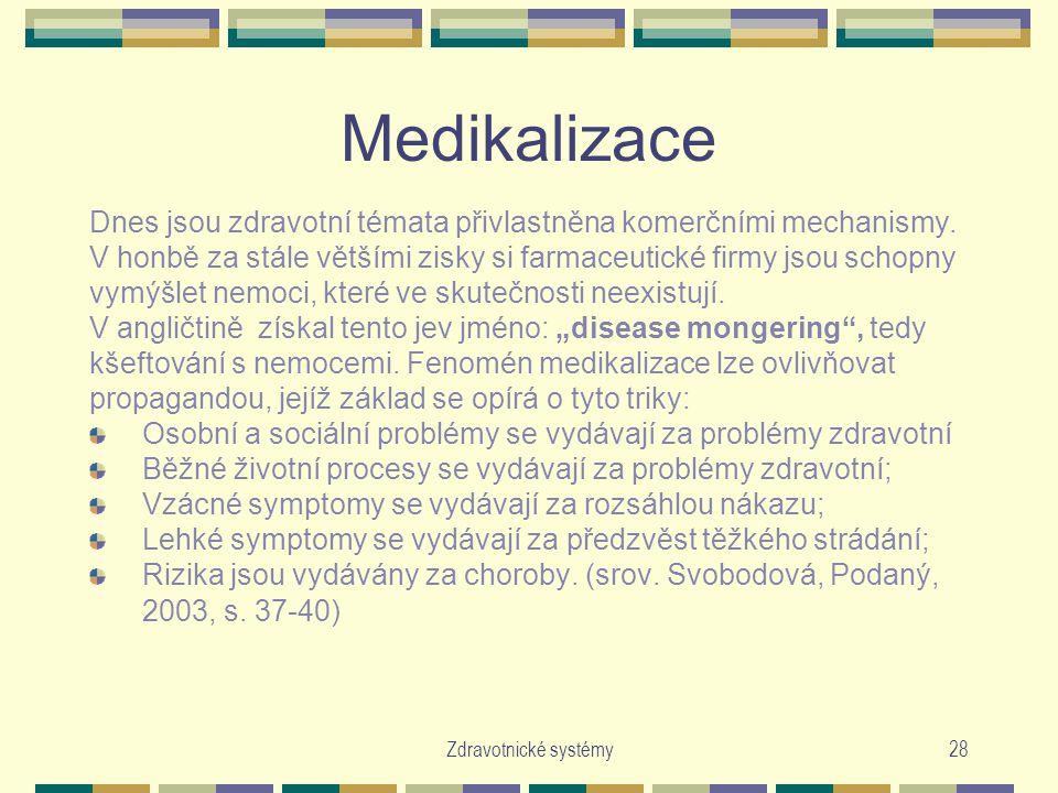 Medikalizace Dnes jsou zdravotní témata přivlastněna komerčními mechanismy. V honbě za stále většími zisky si farmaceutické firmy jsou schopny.