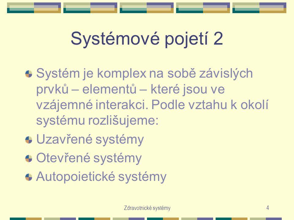 Systémové pojetí 2 Systém je komplex na sobě závislých prvků – elementů – které jsou ve vzájemné interakci. Podle vztahu k okolí systému rozlišujeme: