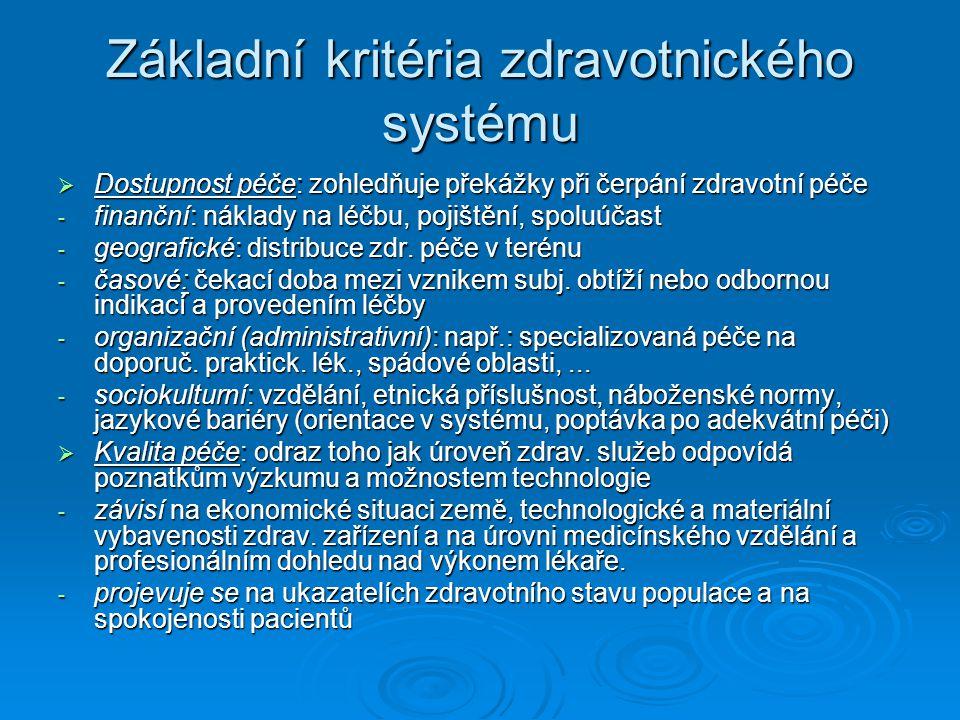 Základní kritéria zdravotnického systému