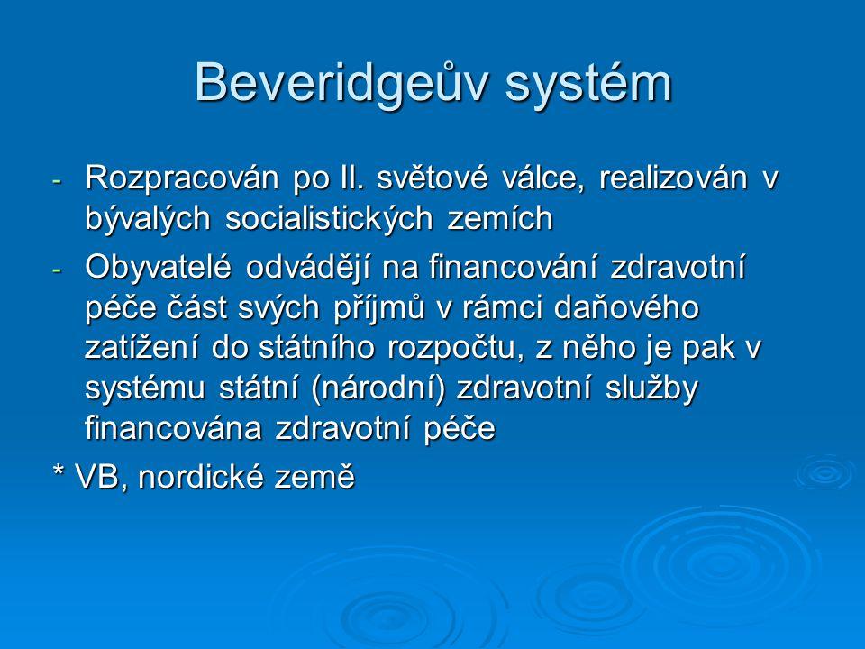 Beveridgeův systém Rozpracován po II. světové válce, realizován v bývalých socialistických zemích.
