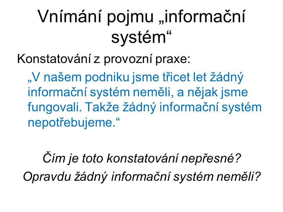 """Vnímání pojmu """"informační systém"""