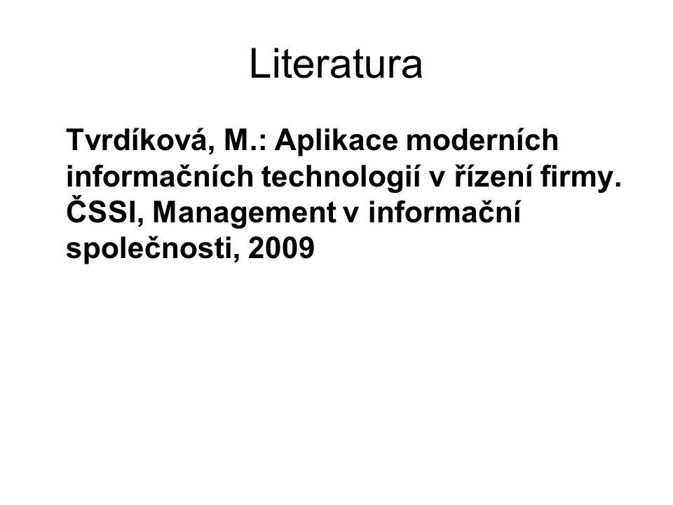 Literatura Tvrdíková, M.: Aplikace moderních informačních technologií v řízení firmy.