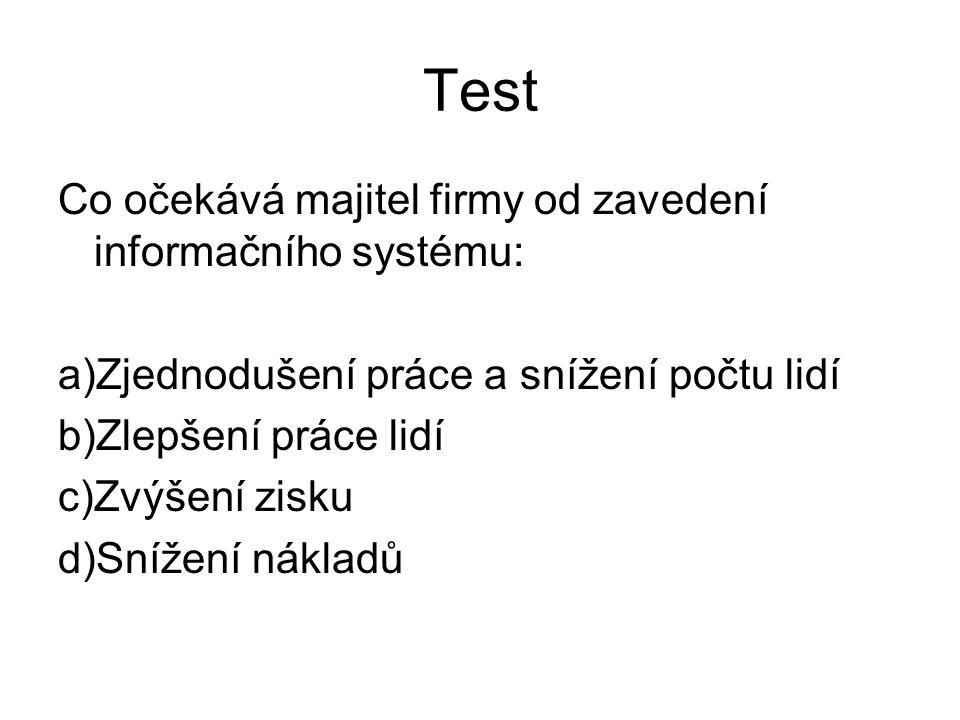Test Co očekává majitel firmy od zavedení informačního systému: