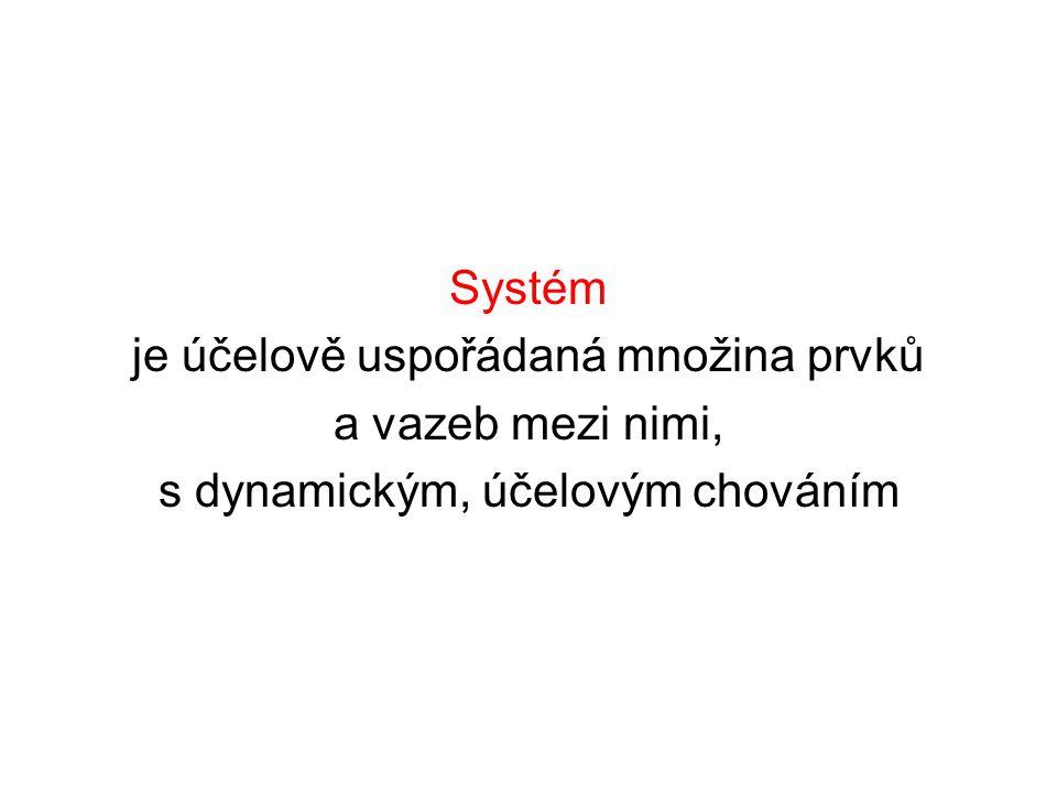 Systém je účelově uspořádaná množina prvků a vazeb mezi nimi, s dynamickým, účelovým chováním