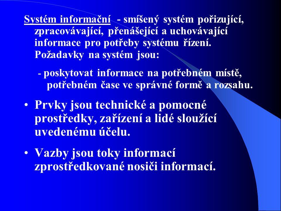Vazby jsou toky informací zprostředkované nosiči informací.
