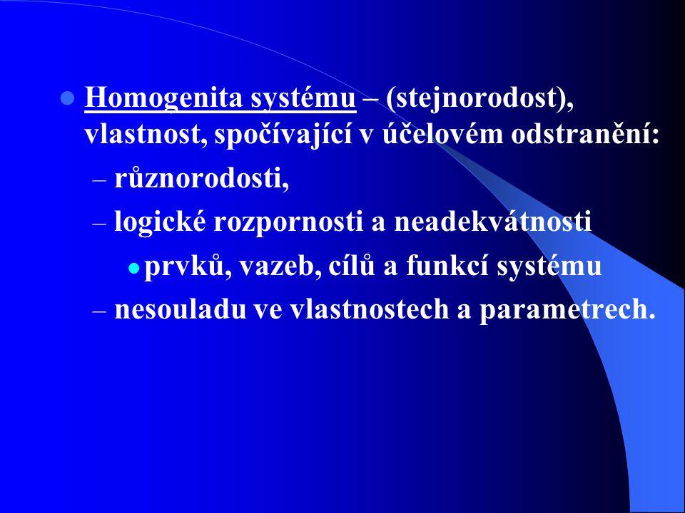 Homogenita systému – (stejnorodost), vlastnost, spočívající v účelovém odstranění: