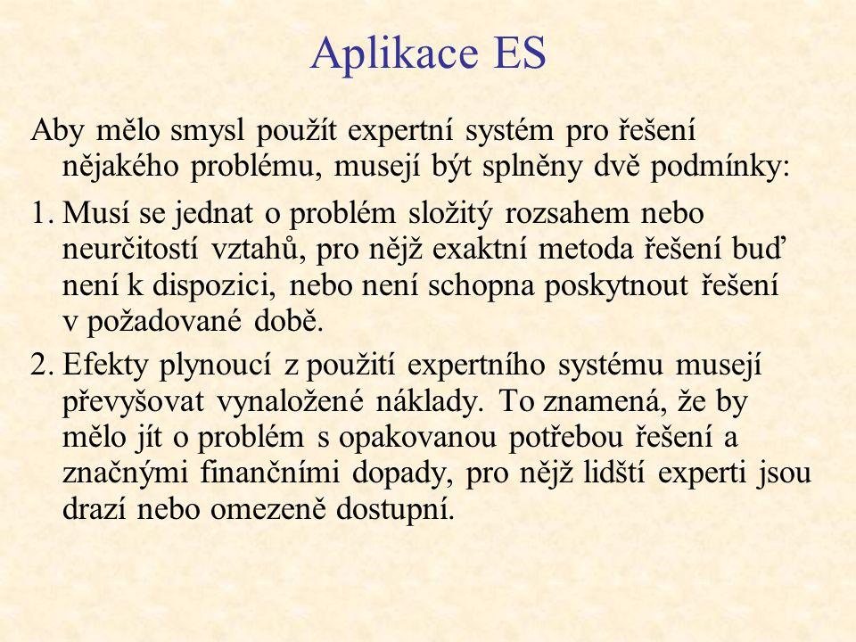 Aplikace ES Aby mělo smysl použít expertní systém pro řešení nějakého problému, musejí být splněny dvě podmínky:
