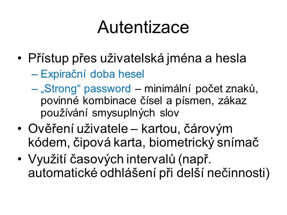 Autentizace Přístup přes uživatelská jména a hesla