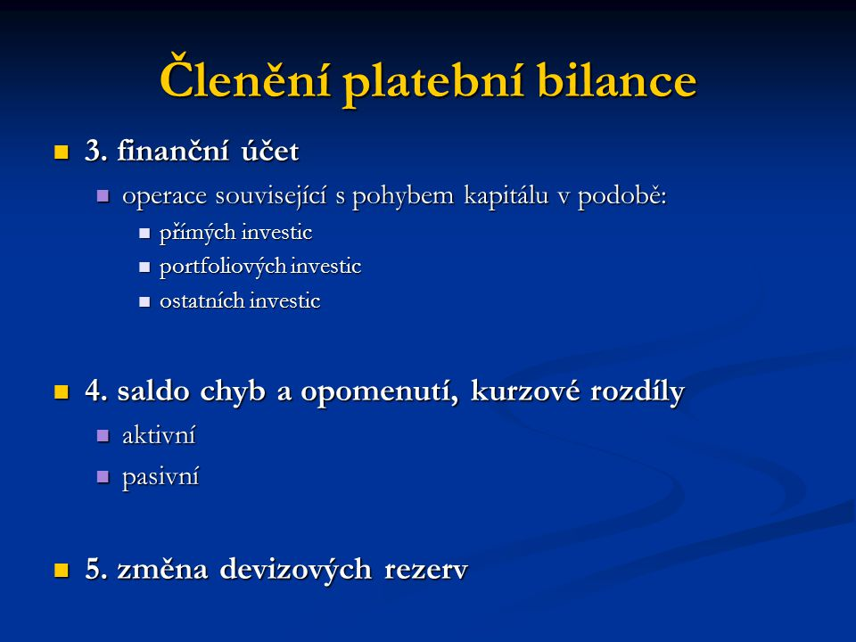 Členění platební bilance