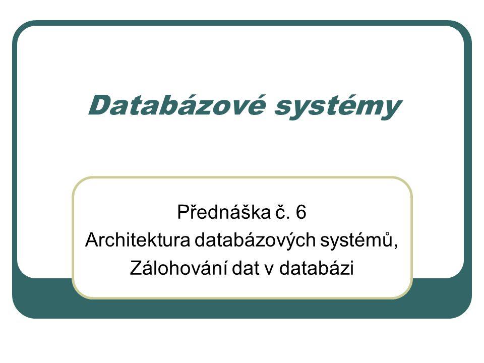 Databázové systémy Přednáška č. 6 Architektura databázových systémů,
