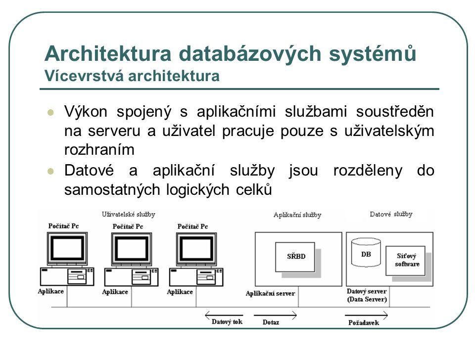 Architektura databázových systémů Vícevrstvá architektura