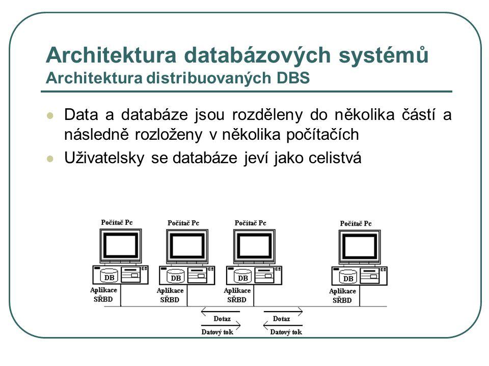 Architektura databázových systémů Architektura distribuovaných DBS
