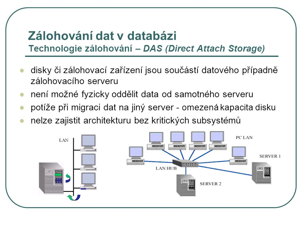 Zálohování dat v databázi Technologie zálohování – DAS (Direct Attach Storage)