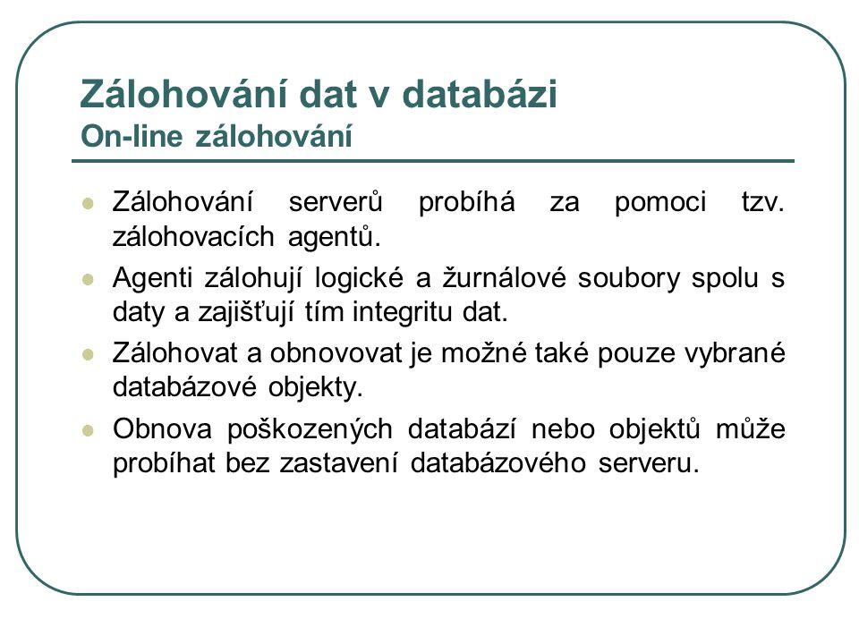Zálohování dat v databázi On-line zálohování