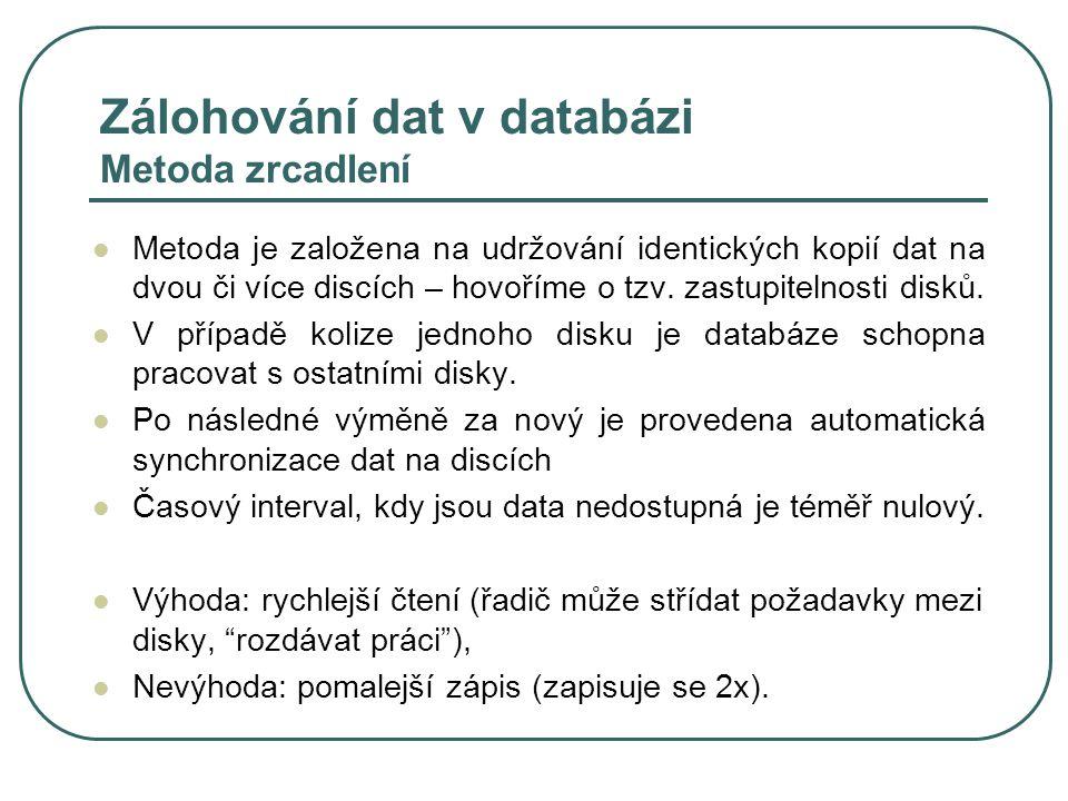 Zálohování dat v databázi Metoda zrcadlení