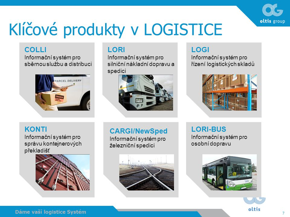 Klíčové produkty v LOGISTICE