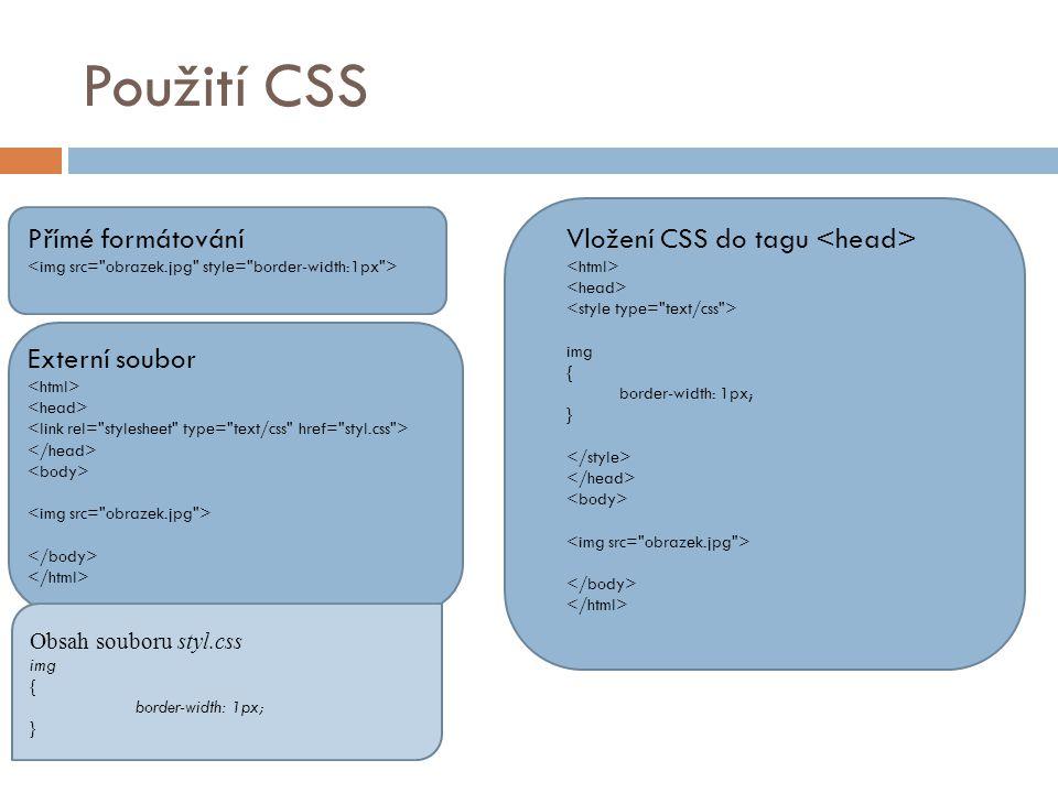 Použití CSS Přímé formátování Vložení CSS do tagu <head>