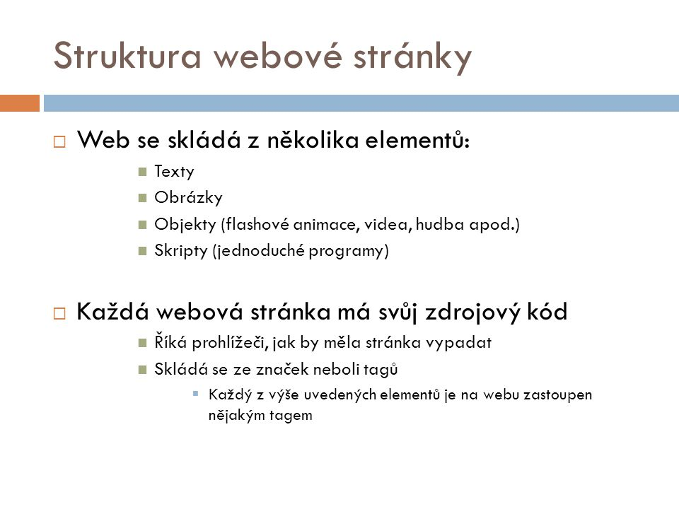 Struktura webové stránky