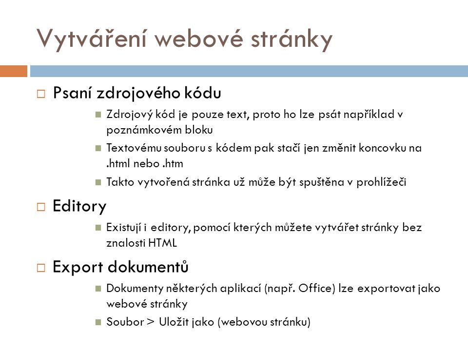 Vytváření webové stránky