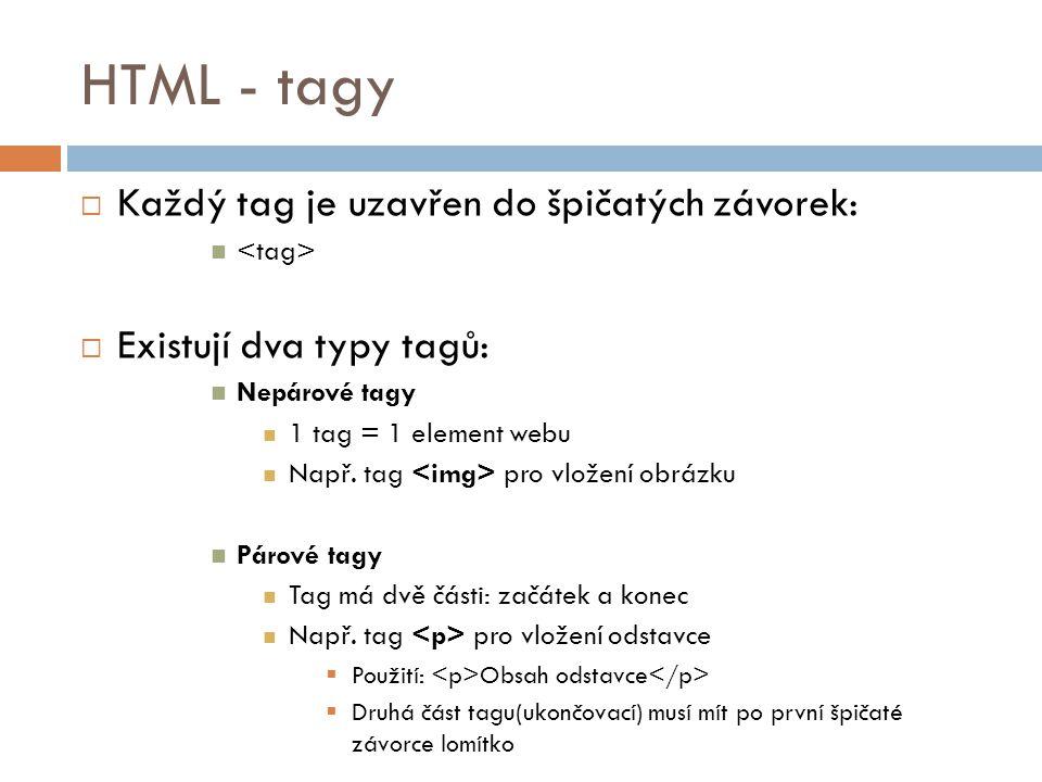 HTML - tagy Každý tag je uzavřen do špičatých závorek: