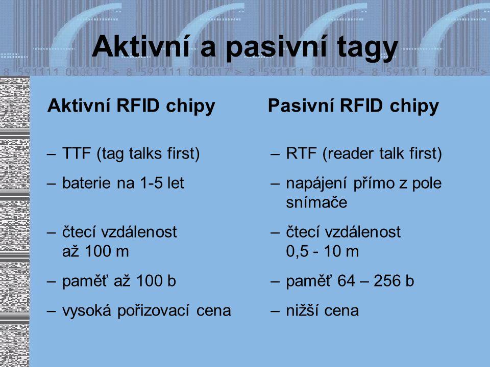 Aktivní a pasivní tagy Aktivní RFID chipy Pasivní RFID chipy