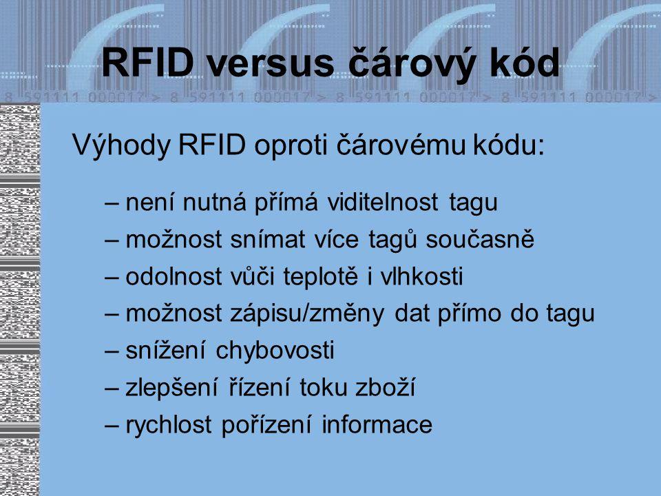 RFID versus čárový kód Výhody RFID oproti čárovému kódu:
