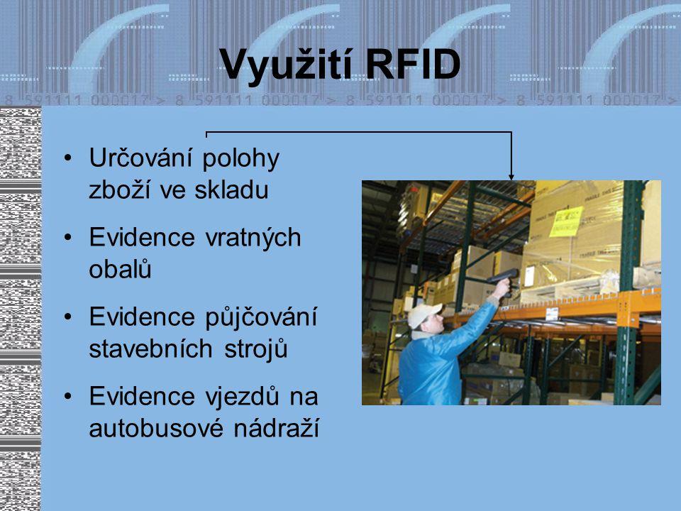 Využití RFID Určování polohy zboží ve skladu Evidence vratných obalů