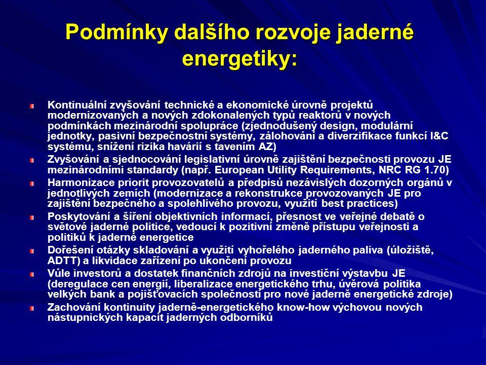 Podmínky dalšího rozvoje jaderné energetiky: