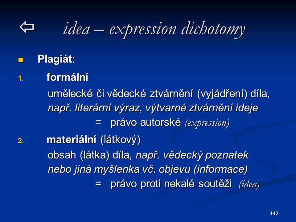  idea – expression dichotomy