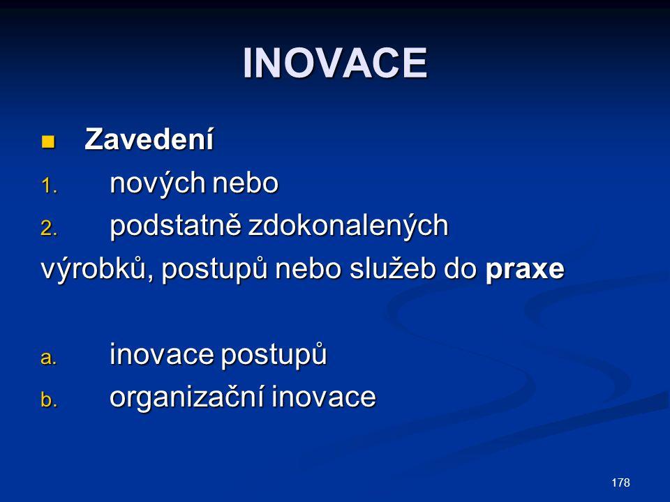 INOVACE Zavedení nových nebo podstatně zdokonalených