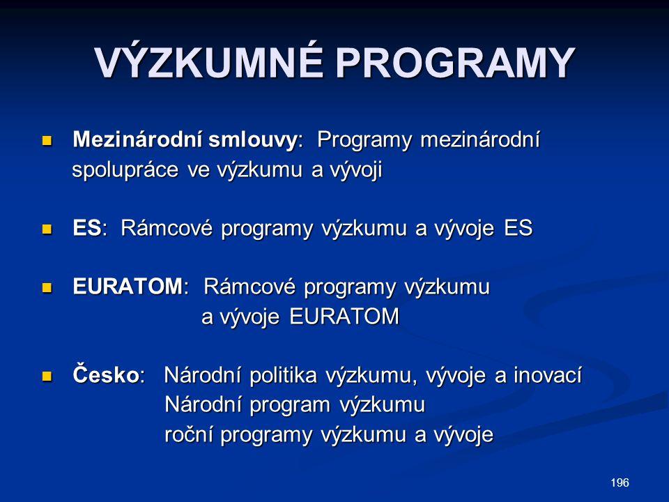 VÝZKUMNÉ PROGRAMY Mezinárodní smlouvy: Programy mezinárodní