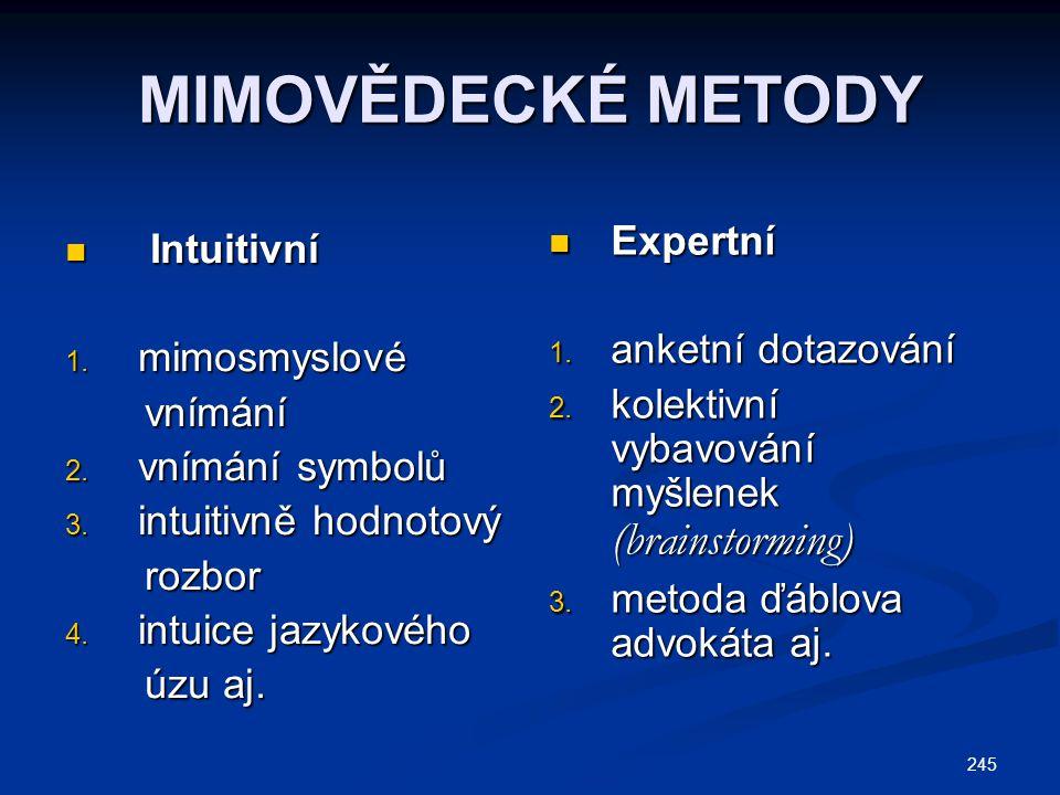 MIMOVĚDECKÉ METODY Expertní Intuitivní anketní dotazování mimosmyslové