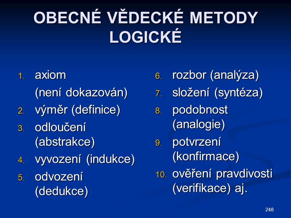 OBECNÉ VĚDECKÉ METODY LOGICKÉ