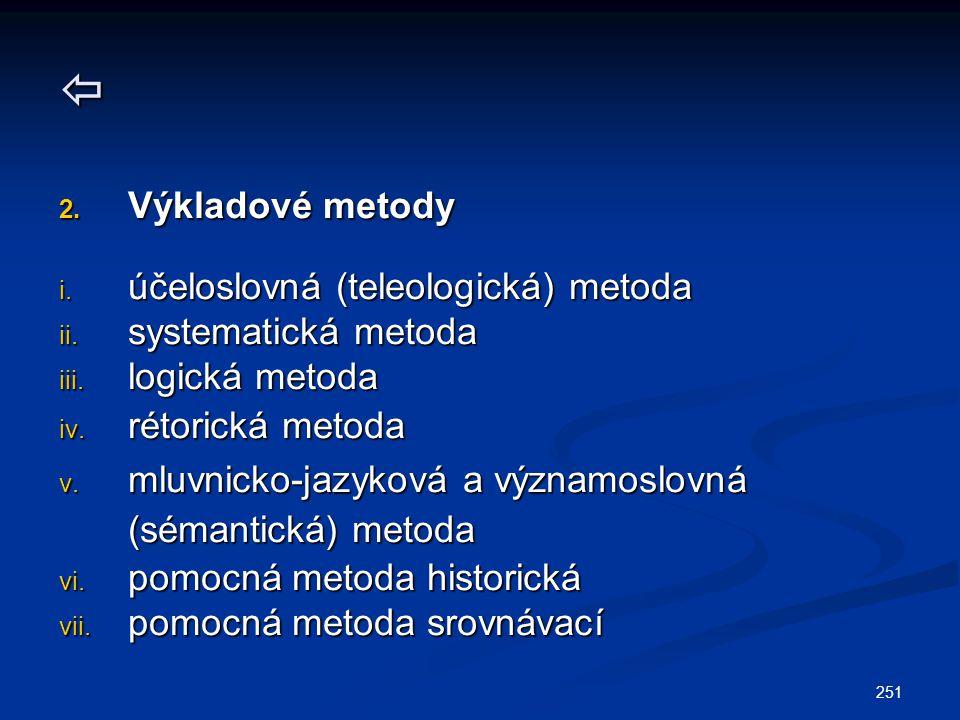  Výkladové metody účeloslovná (teleologická) metoda